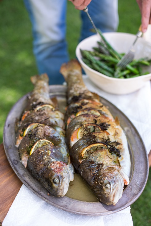 Grilled whole trout stuffed with lemon, fennel & herbs ...